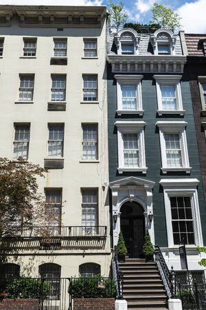 Facade of old typical houses in Midtown Manhattan, New York City, USA 写真素材