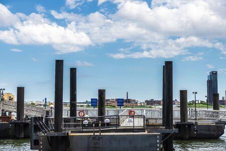 Pier on East River in Manhattan, New York City, USA