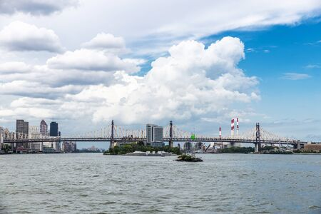 View of the Roosevelt Island and Ed Koch Queensboro Bridge in New York City, USA