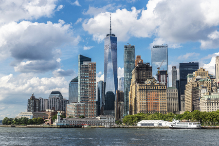 View of the skyline of modern skyscrapers of Manhattan and Battery Park in New York City, USA Editorial