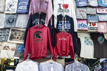 Athens, Greece - December 31, 2018: Souvenir shop with t-shirts and sweatshirts in Athens, Greece Editorial