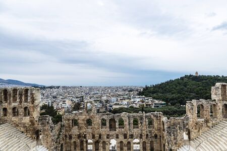 Overview of the amphitheater called Odeon of Herodes Atticus (Herodeion or Herodion ) in the Acropolis of Athens, Greece