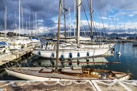 Yachts and sailboats moored in the port of Athens, Greece Reklamní fotografie
