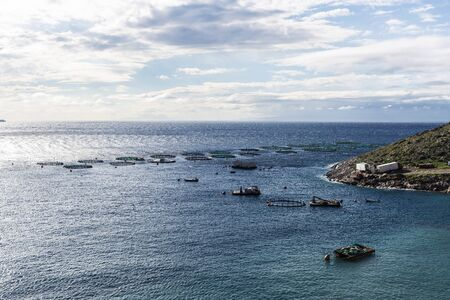 Overview of a fish farming in the Aegean Sea on the coast of East Attica in Greece