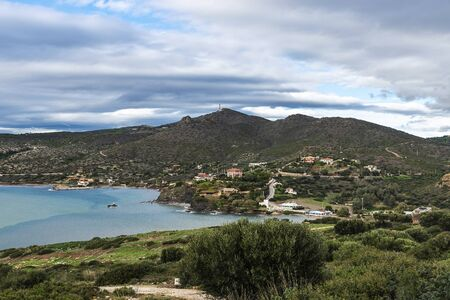 Overview of the coast of East Attica from the Cape Sounion in Greece