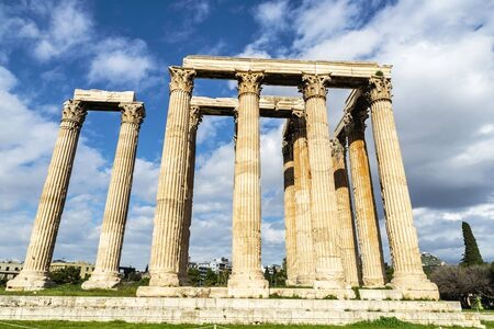 View of the Temple of Olympian Zeus (Olympieion or Columns of the Olympian Zeus) in Athens, Greece