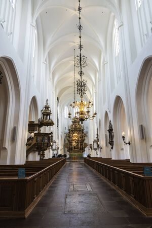 Interior of the Saint Peter's Church in the center of Malmo, Sweden