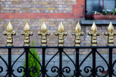 Classic black metal fence with golden tips in the shape of a fleur de lis as background in Dublin, Ireland