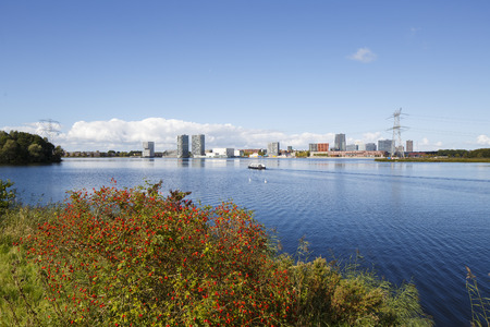 The Netherlands. Sky line of the small city of Almere, just 15 miles north east from Amsterdam
