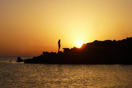 menorca: Sunshine in Menorca with girl