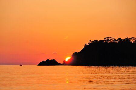 Beautiful sunset in the Greece coast Standard-Bild