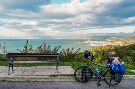 Bicycle tour with bags from the great view in pier Slovenia, Europe