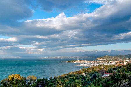 Izola sea point view in a sunny day, Slovenia, Europe.