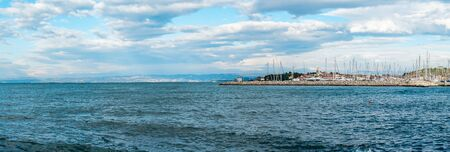 Izola city Panoramic with the pier and sea in front, Slovenia,Europe. Stock fotó