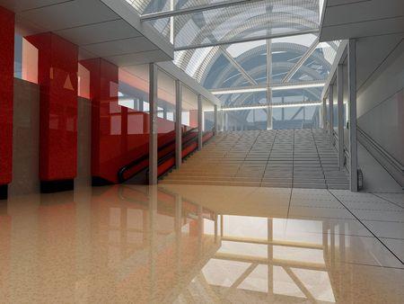 3d Rendering - Matte + wire of indoor architecture