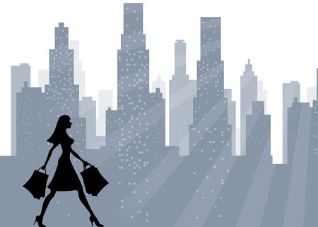 Illustration - woman who walks for the city making shopping