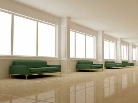 forniture: Interior - Long luminous hall Stock Photo