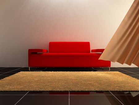 forniture: Interior - Red sofa and breeze on luminous room