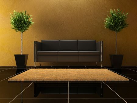 forniture: Interior - Black modern sofa between two plants