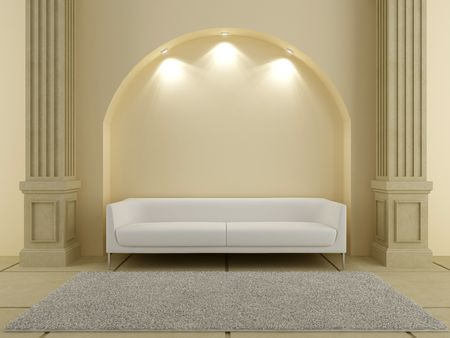 3d interiors - White couch under the arc