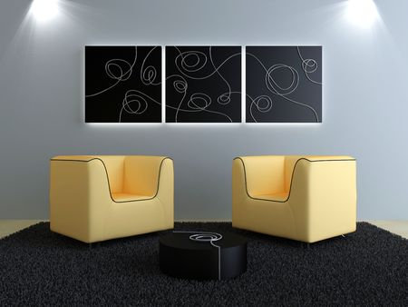 pannel: Interior design - Comfortable seat in modern style room