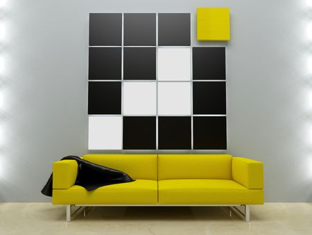 Interior design - Yellow couch in modern style room