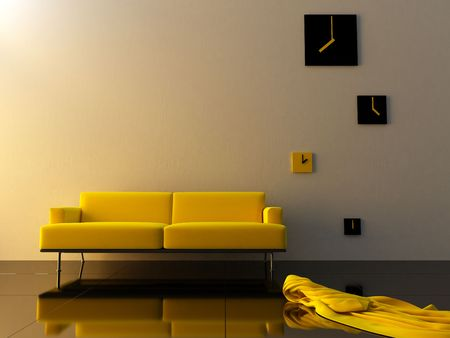 Interior - Yellow couch in modern style sitting room