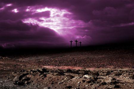 The golgota with three crosses