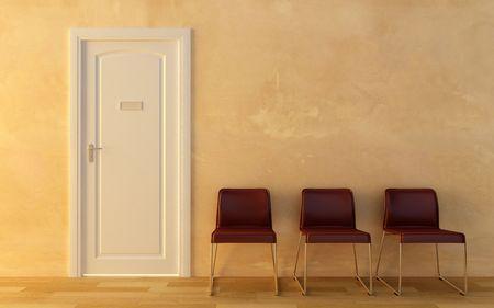 director de escuela: Tres sillas en la sala de espera fuera de la oficina