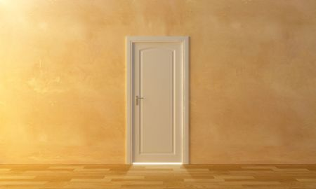 beyond: a white door on the wall and an intense light beyond to it
