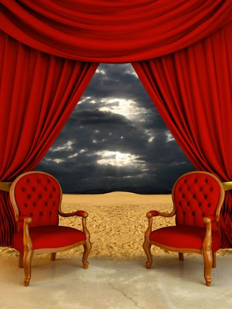 Luxury chairs and curtains open on desert view Stock Photo - 4527371