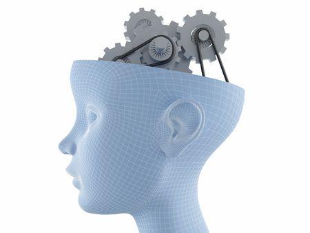 perfil de mujer rostro: Gr�ficos de computadora genera - el perfil de las mujeres se enfrentan con artes cerebro actividades
