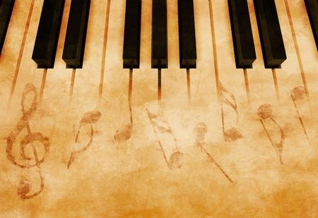 abstract music background: Abstract music background - Keyboard and musical notes