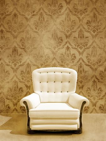 Classic white seat on vintage damask wall