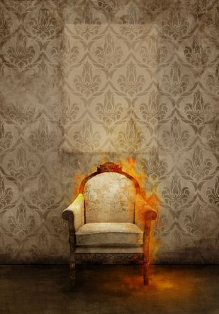 Antique throne in flame on ancient wall photo
