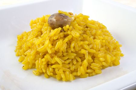 giblets: A dish of risotto with saffron and giblets