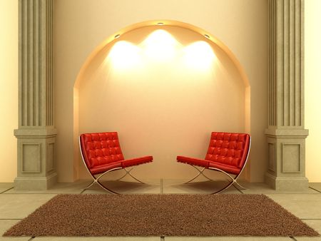 Two modern style seat under the arc wall