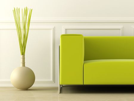 sof: Green modern style couch in white room