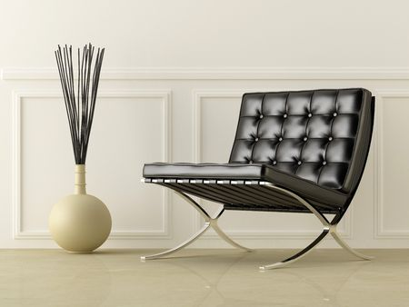 black leather modern style seat in white room