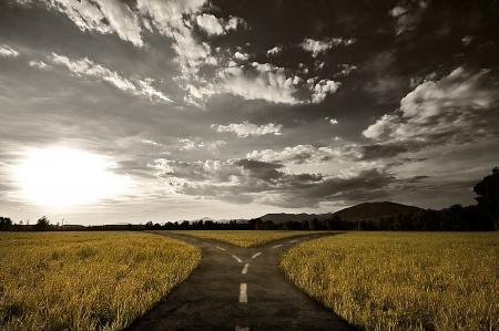 Cruce de caminos en el paisaje rural bajo cielo atardecer