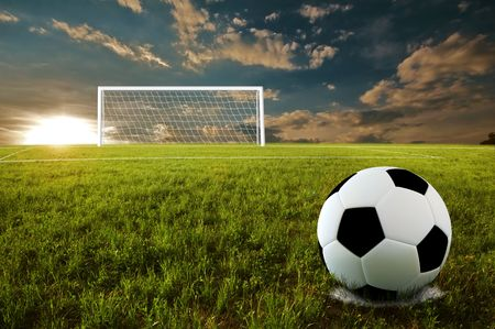 Soccer ball on penalty disk in sunset time Stock Photo - 6848387