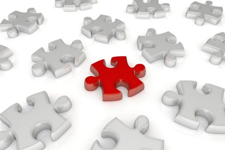 in conjunction: Many white pieces of jigsaw puzzle and one red