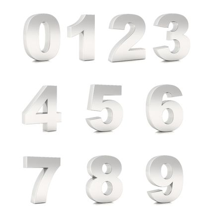 tridimensional: Tridimensional numbers from 0 to 9 chromium silver