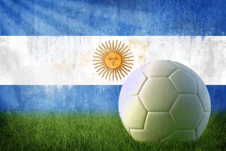 argentina flag: Grunge Argentina flag on wall and soccer ball