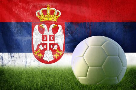 Grunge Serbia flag on wall and soccer ball Stock Photo - 6848242