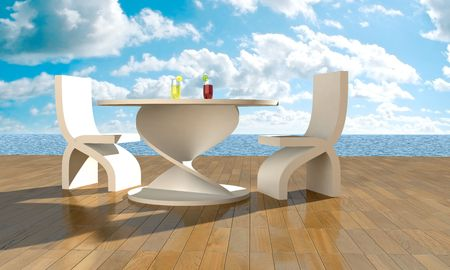 two chairs: Table and two chairs on terrace in front of sea Stock Photo