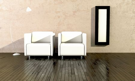 two white and comfortable seats for waiting room Stock Photo - 6846038
