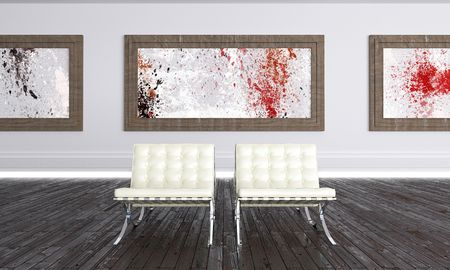 Luminous Modern Art Gallery with abstract works Stock Photo