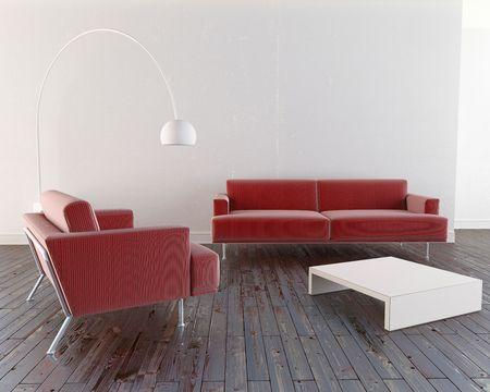 Modern and minimal furniture in luminous room Stock Photo - 6869795