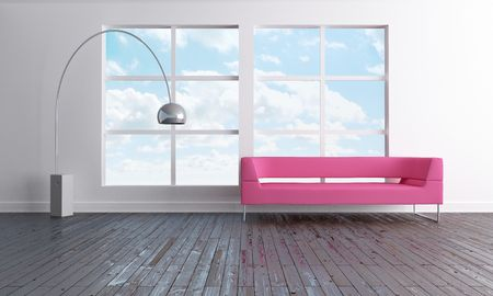 Luminous and minimal open space with pink sofa Stock Photo